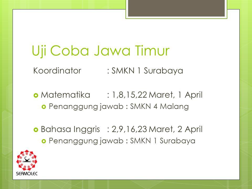 Uji Coba Jawa Timur Koordinator : SMKN 1 Surabaya  Matematika : 1,8,15,22 Maret, 1 April  Penanggung jawab : SMKN 4 Malang  Bahasa Inggris : 2,9,16