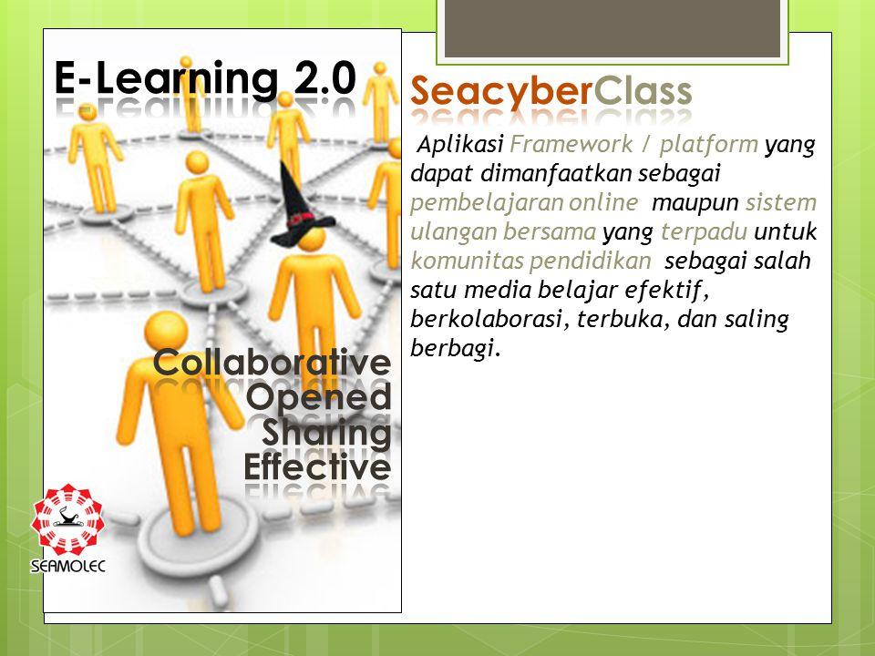 Aplikasi Framework / platform yang dapat dimanfaatkan sebagai pembelajaran online maupun sistem ulangan bersama yang terpadu untuk komunitas pendidikan sebagai salah satu media belajar efektif, berkolaborasi, terbuka, dan saling berbagi.