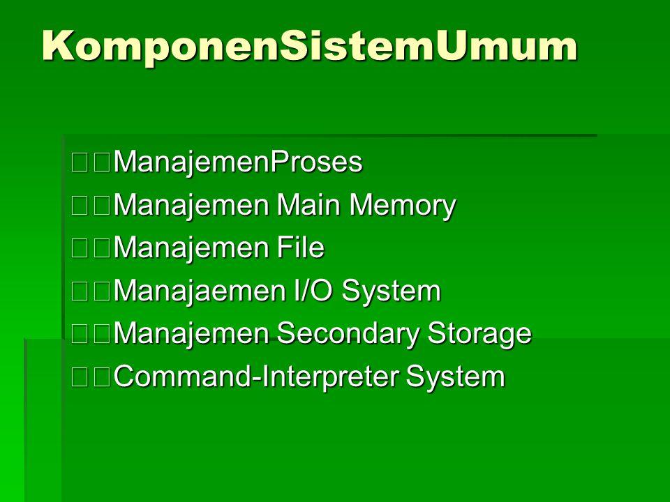 KomponenSistemUmum ManajemenProses Manajemen Main Memory Manajemen File Manajaemen I/O System Manajemen Secondary Storage Command-Interpreter System