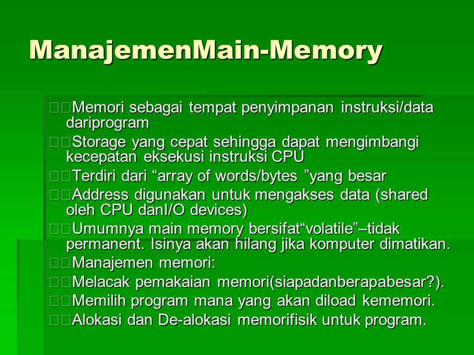 ManajemenMain-Memory Memori sebagai tempat penyimpanan instruksi/data dariprogram Storage yang cepat sehingga dapat mengimbangi kecepatan eksekusi instruksi CPU Terdiri dari array of words/bytes yang besar Address digunakan untuk mengakses data (shared oleh CPU danI/O devices) Umumnya main memory bersifat volatile –tidak permanent.