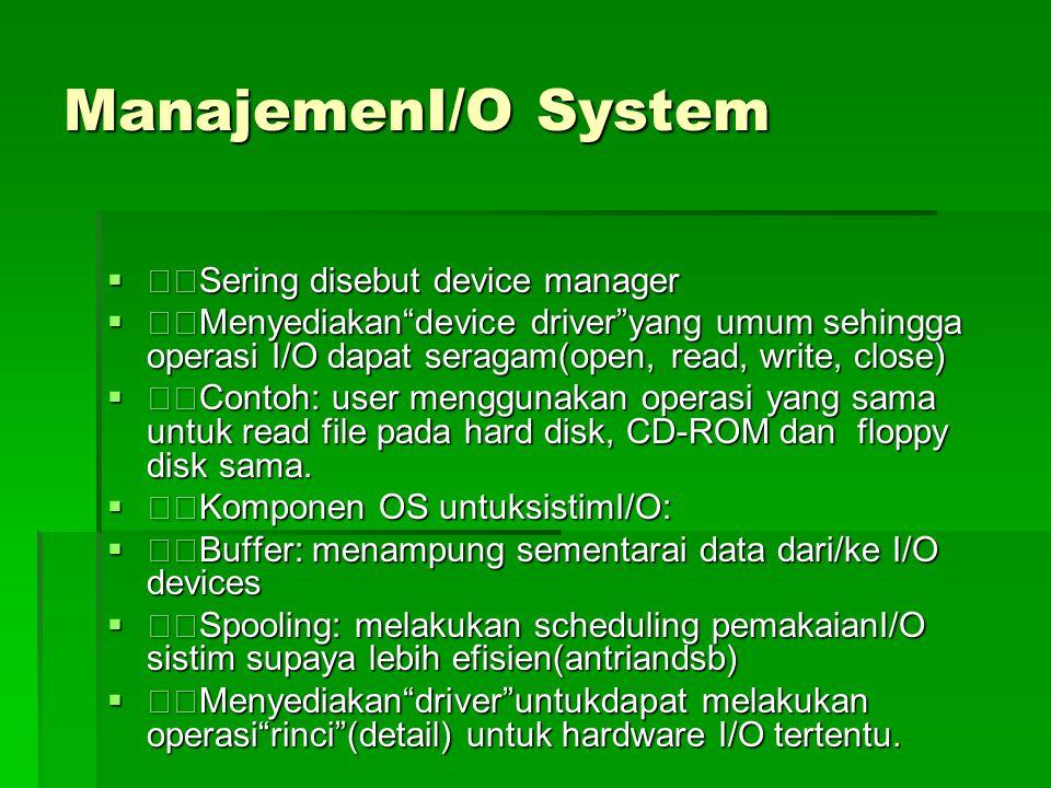 ManajemenFile  File: kumpulan informasi yang berhubungan (sesuai dengan tujuan pembuat file tsb).