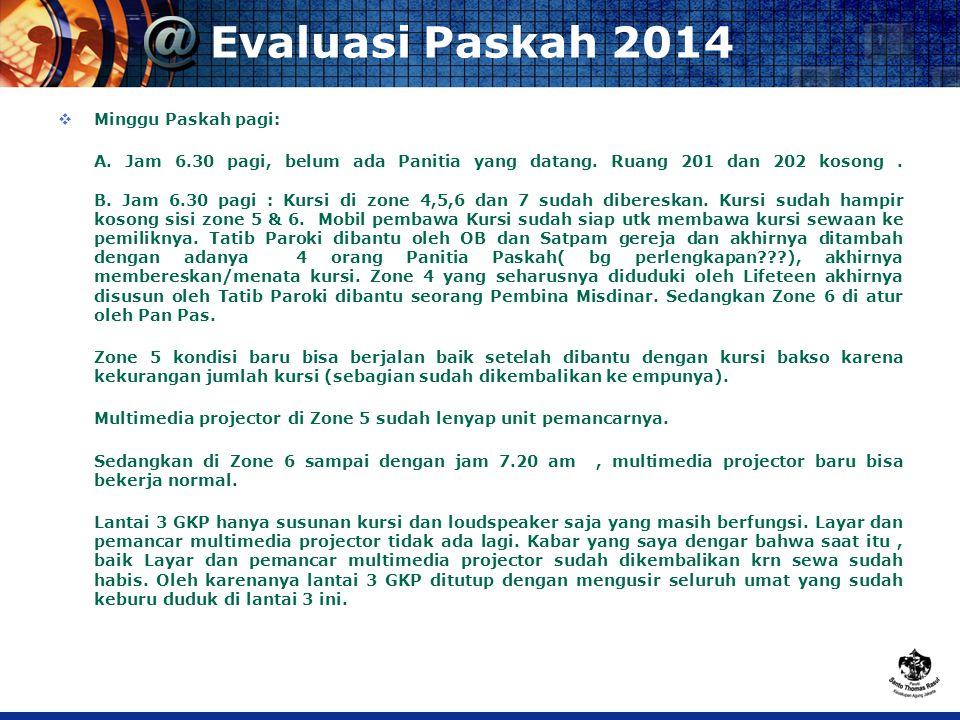 Evaluasi Paskah 2014  Minggu Paskah pagi: A. Jam 6.30 pagi, belum ada Panitia yang datang.