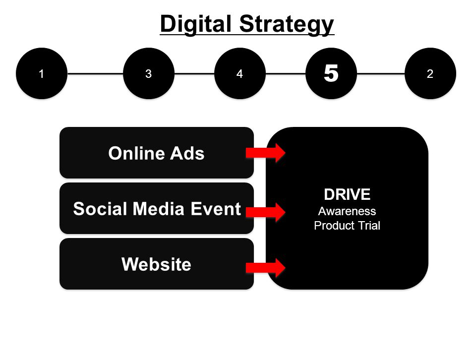 1 1 2 2 3 3 4 4 5 5 DRIVE Awareness Product Trial DRIVE Awareness Product Trial Social Media Event Online Ads Website Digital Strategy