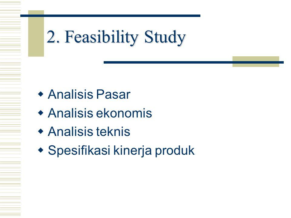 2. Feasibility Study   Analisis Pasar   Analisis ekonomis   Analisis teknis   Spesifikasi kinerja produk