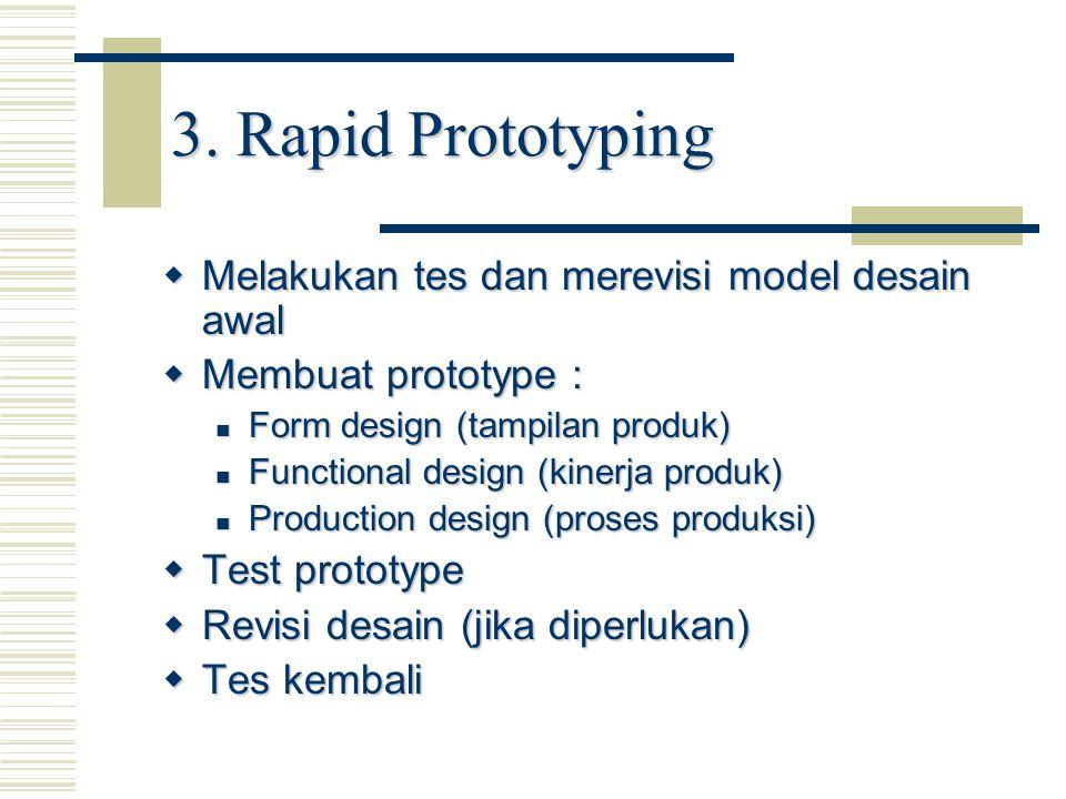 3. Rapid Prototyping  Melakukan tes dan merevisi model desain awal  Membuat prototype : Form design (tampilan produk) Form design (tampilan produk)