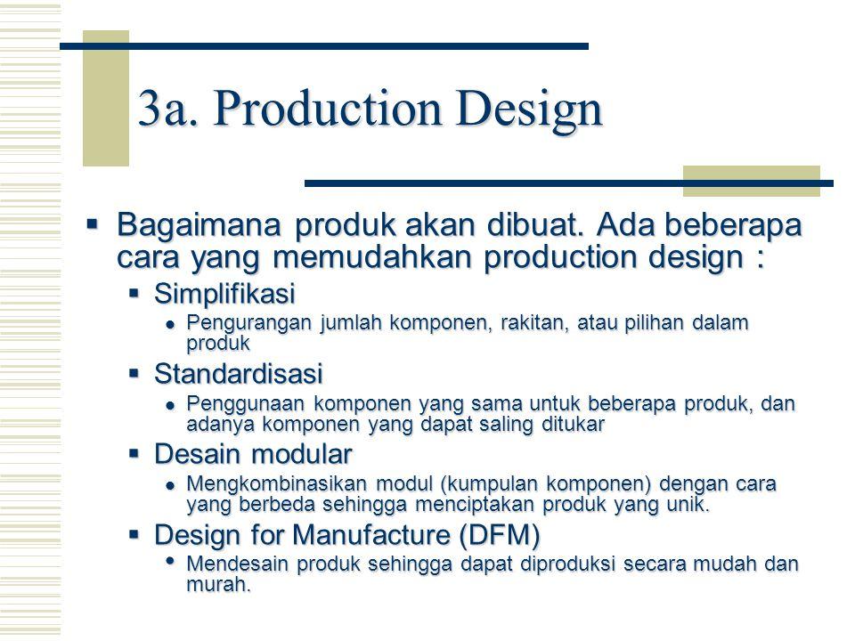  Bagaimana produk akan dibuat. Ada beberapa cara yang memudahkan production design :  Simplifikasi Pengurangan jumlah komponen, rakitan, atau piliha