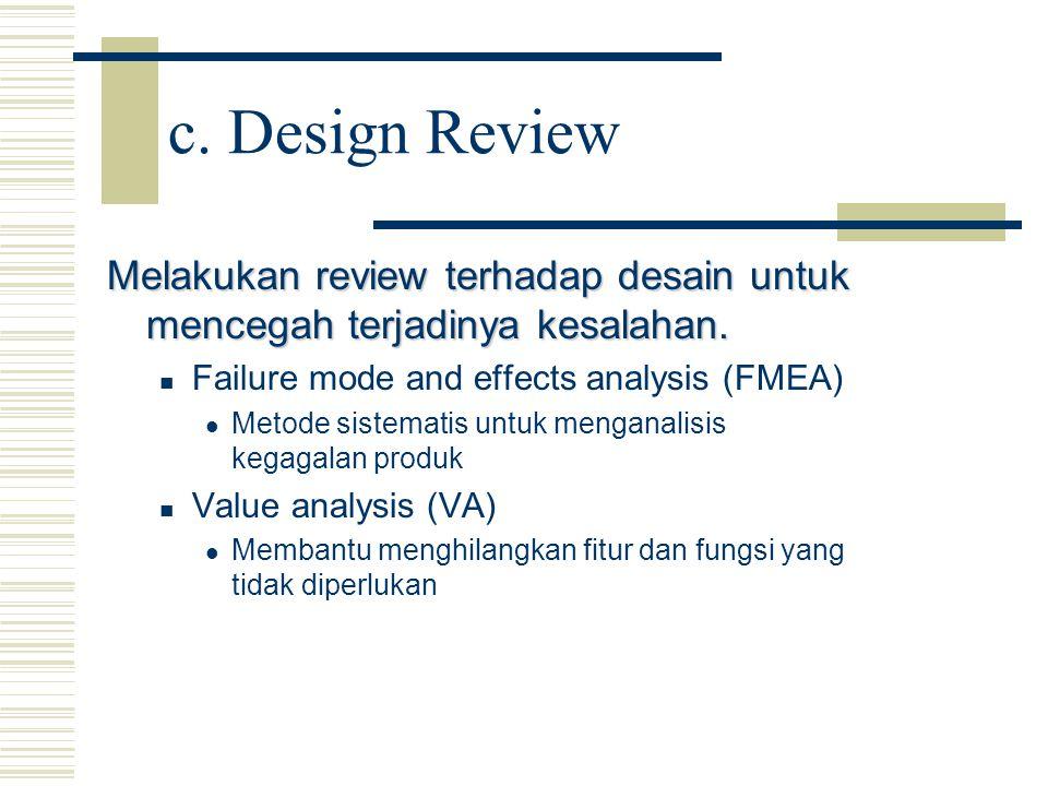 c. Design Review Melakukan review terhadap desain untuk mencegah terjadinya kesalahan. Failure mode and effects analysis (FMEA) Metode sistematis untu