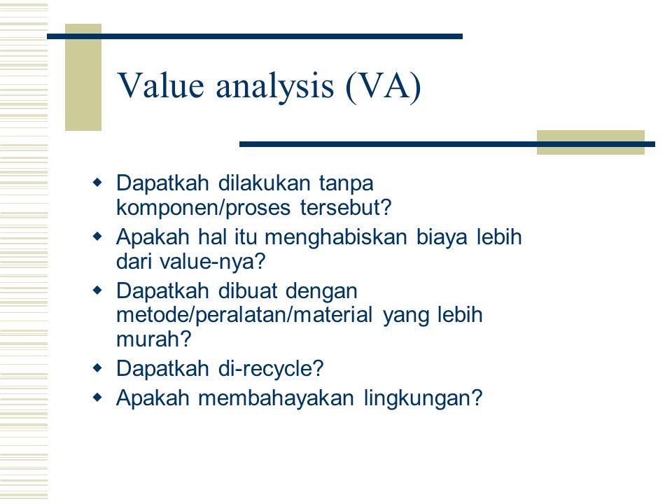 Value analysis (VA)   Dapatkah dilakukan tanpa komponen/proses tersebut?   Apakah hal itu menghabiskan biaya lebih dari value-nya?   Dapatkah di