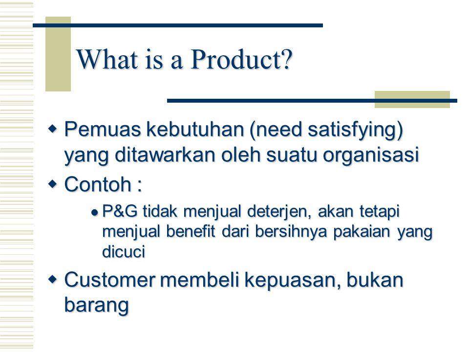  Pemuas kebutuhan (need satisfying) yang ditawarkan oleh suatu organisasi  Contoh : P&G tidak menjual deterjen, akan tetapi menjual benefit dari ber