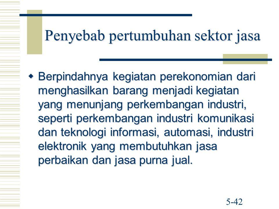 Penyebab pertumbuhan sektor jasa  Berpindahnya kegiatan perekonomian dari menghasilkan barang menjadi kegiatan yang menunjang perkembangan industri,
