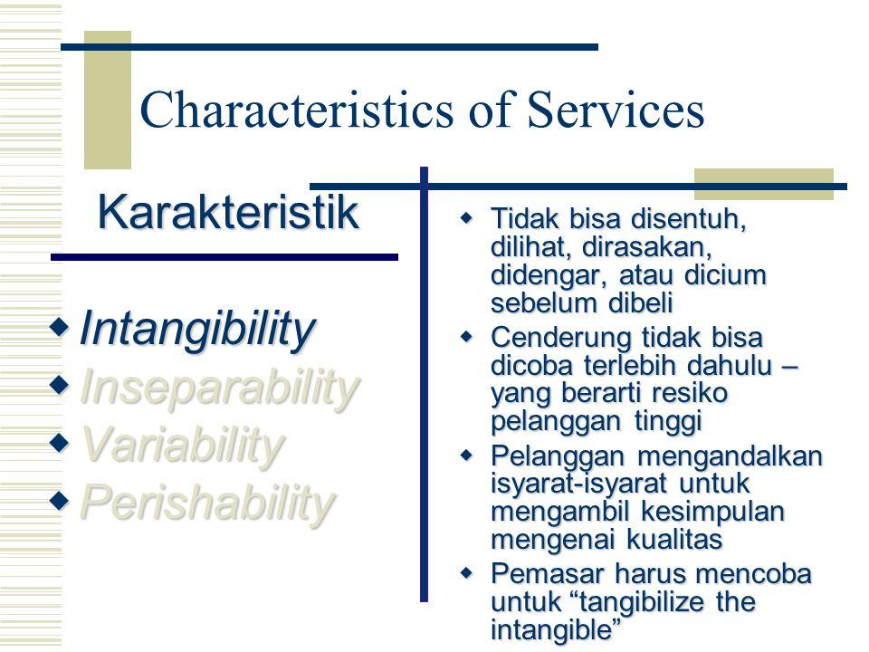 Karakteristik  Intangibility  Inseparability  Variability  Perishability  Tidak bisa disentuh, dilihat, dirasakan, didengar, atau dicium sebelum