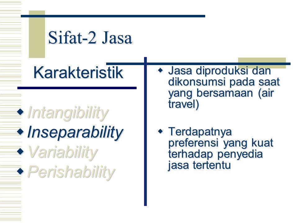Sifat-2 Jasa Karakteristik  Intangibility  Inseparability  Variability  Perishability  Jasa diproduksi dan dikonsumsi pada saat yang bersamaan (a