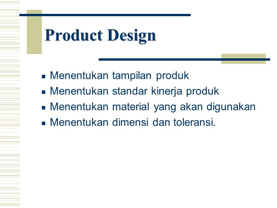 Product Design Menentukan tampilan produk Menentukan standar kinerja produk Menentukan material yang akan digunakan Menentukan dimensi dan toleransi.