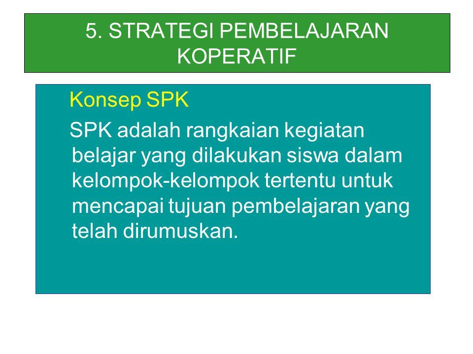 5. STRATEGI PEMBELAJARAN KOPERATIF Konsep SPK SPK adalah rangkaian kegiatan belajar yang dilakukan siswa dalam kelompok-kelompok tertentu untuk mencap