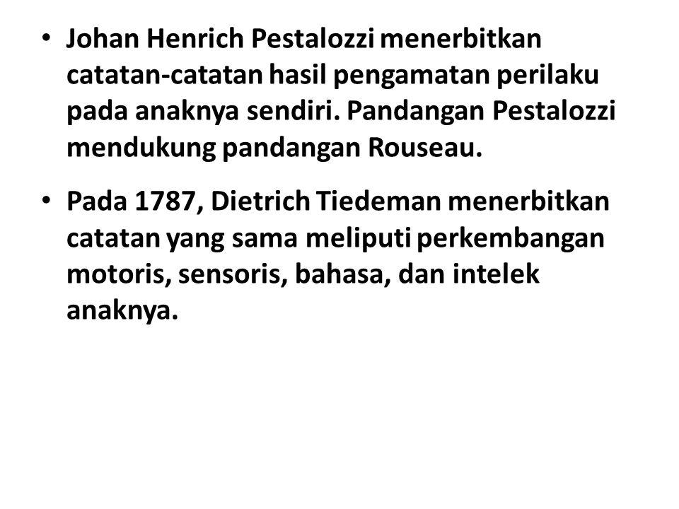 Johan Henrich Pestalozzi menerbitkan catatan-catatan hasil pengamatan perilaku pada anaknya sendiri.