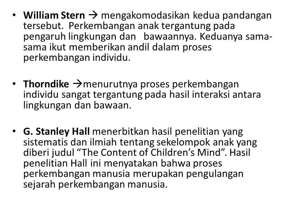 William Stern  mengakomodasikan kedua pandangan tersebut. Perkembangan anak tergantung pada pengaruh lingkungan dan bawaannya. Keduanya sama- sama ik