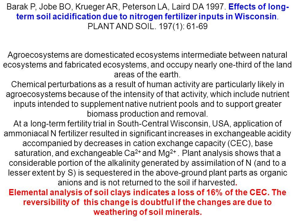 Barak P, Jobe BO, Krueger AR, Peterson LA, Laird DA 1997. Effects of long- term soil acidification due to nitrogen fertilizer inputs in Wisconsin. PLA