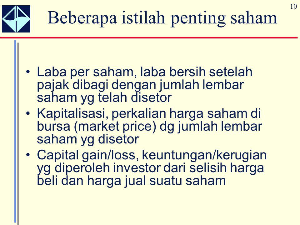 10 Beberapa istilah penting saham Laba per saham, laba bersih setelah pajak dibagi dengan jumlah lembar saham yg telah disetor Kapitalisasi, perkalian