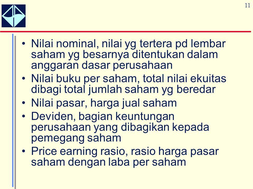11 Nilai nominal, nilai yg tertera pd lembar saham yg besarnya ditentukan dalam anggaran dasar perusahaan Nilai buku per saham, total nilai ekuitas di