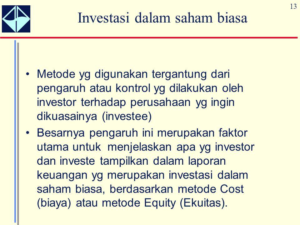 13 Investasi dalam saham biasa Metode yg digunakan tergantung dari pengaruh atau kontrol yg dilakukan oleh investor terhadap perusahaan yg ingin dikua