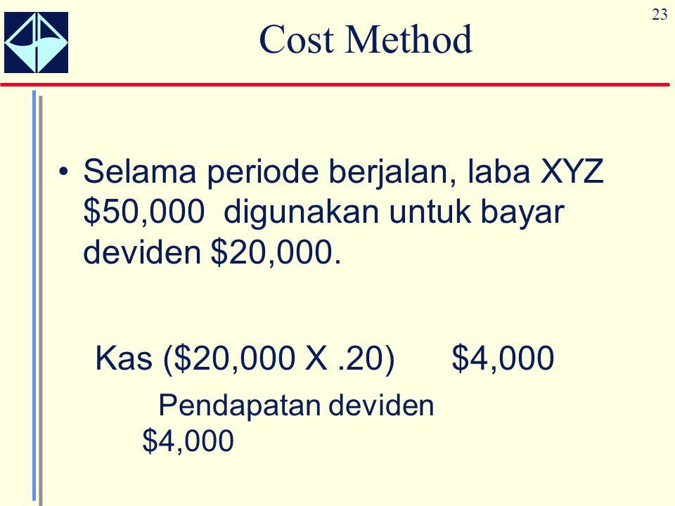 23 Cost Method Selama periode berjalan, laba XYZ $50,000 digunakan untuk bayar deviden $20,000. Kas ($20,000 X.20) $4,000 Pendapatan deviden $4,000
