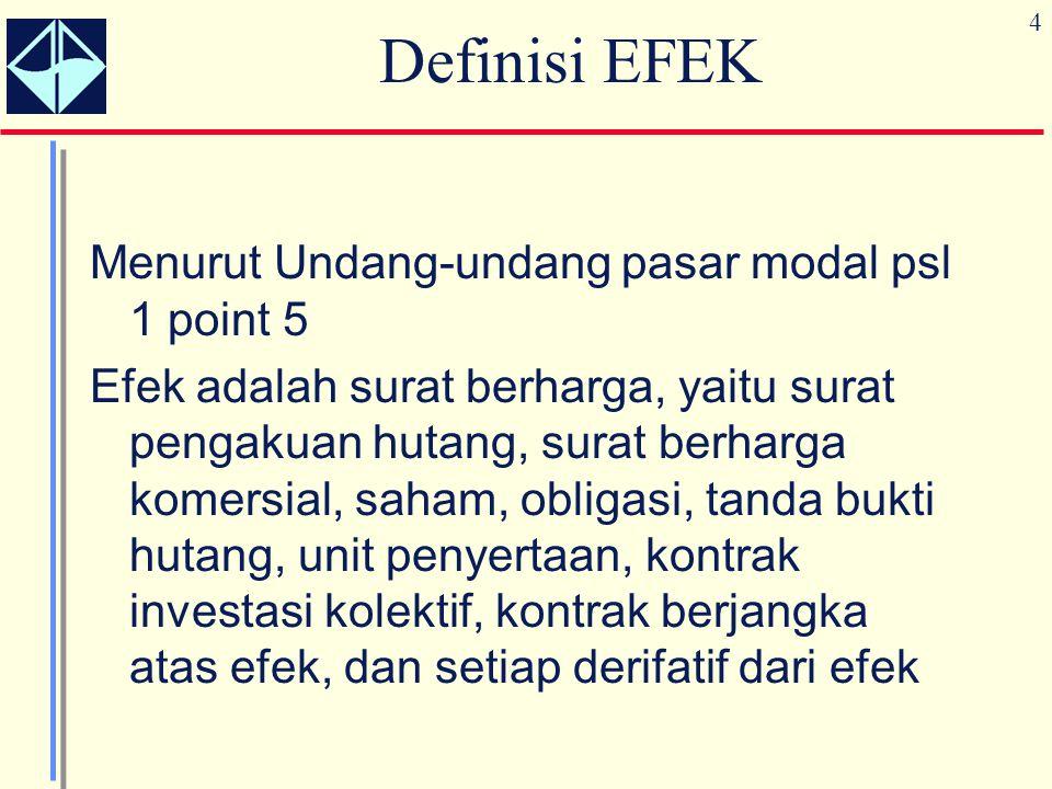 4 Definisi EFEK Menurut Undang-undang pasar modal psl 1 point 5 Efek adalah surat berharga, yaitu surat pengakuan hutang, surat berharga komersial, sa