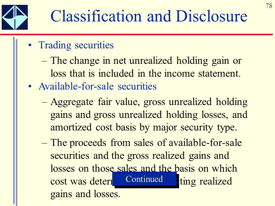 78 Classification and Disclosure Trading securities –The change in net unrealized holding gain or loss that is included in the income statement. Avail