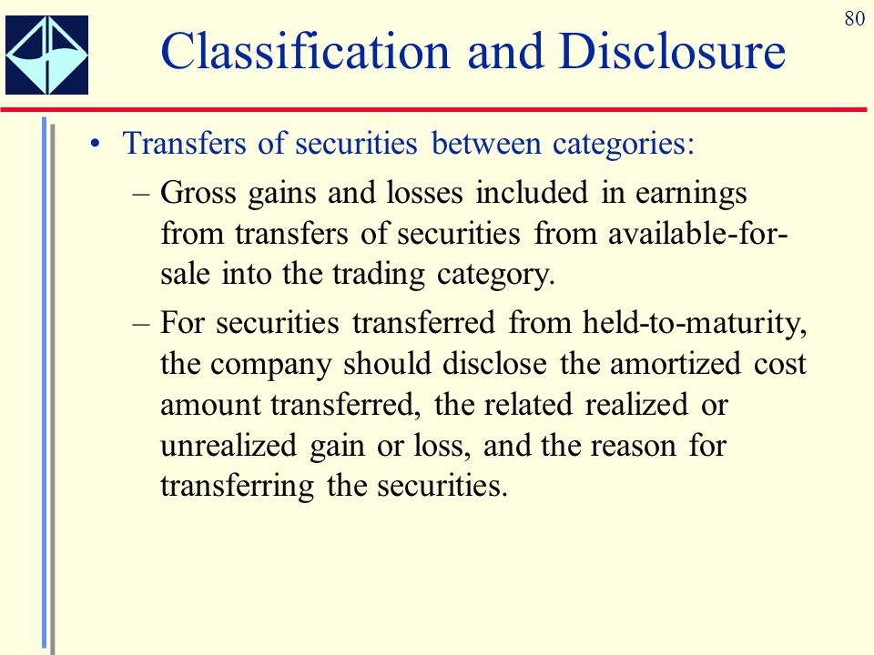80 Transfers of securities between categories: –Gross gains and losses included in earnings from transfers of securities from available-for- sale into