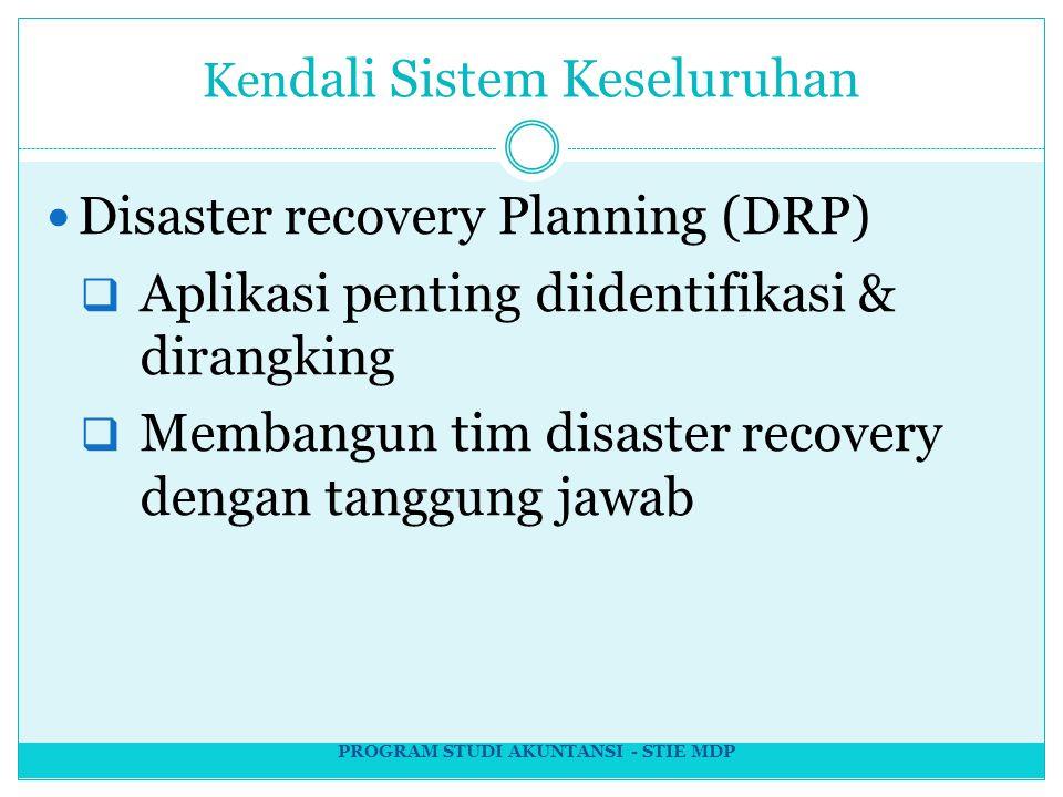 Ken dali Sistem Keseluruhan Disaster recovery Planning (DRP)  Aplikasi penting diidentifikasi & dirangking  Membangun tim disaster recovery dengan tanggung jawab PROGRAM STUDI AKUNTANSI - STIE MDP