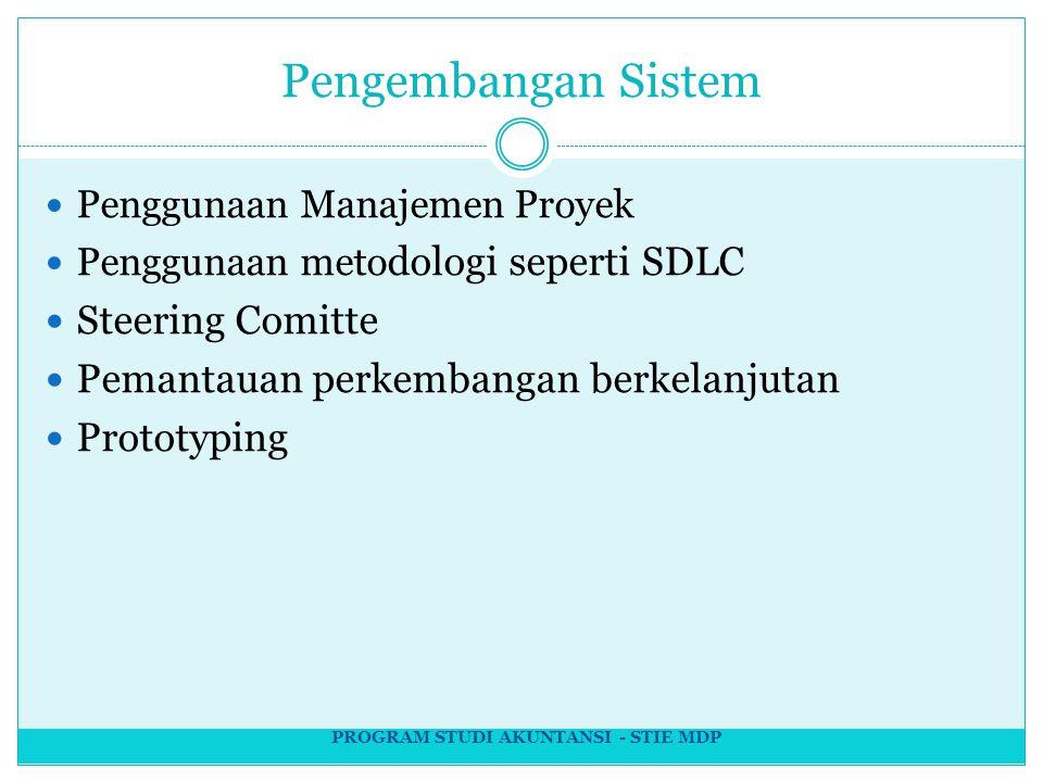 Pengembangan Sistem Penggunaan Manajemen Proyek Penggunaan meto dologi seperti SDLC Steering Comitte Pemantauan perkembangan berkelanjutan Prototyping PROGRAM STUDI AKUNTANSI - STIE MDP