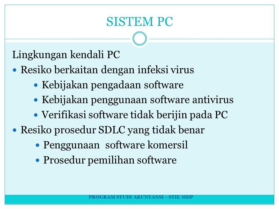 SISTEM PC Lingkungan kendali PC Resiko berkaitan dengan infeksi virus Kebijakan pengadaan software Kebijakan penggunaan software antivirus Verifikasi software tidak berijin pada PC Resiko prosedur SDLC yang tidak benar Penggunaan software komersil Prosedur pemilihan software PROGRAM STUDI AKUNTANSI - STIE MDP