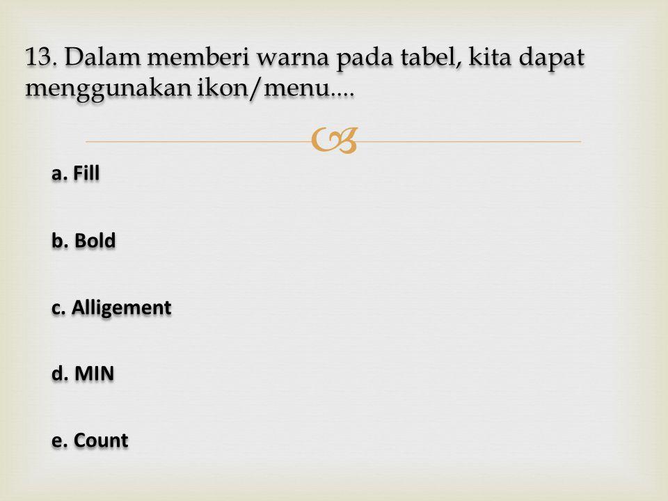  13. Dalam memberi warna pada tabel, kita dapat menggunakan ikon/menu.... a. Fill a. Fill b. Bold b. Bold c. Alligement c. Alligement d. MIN d. MIN e