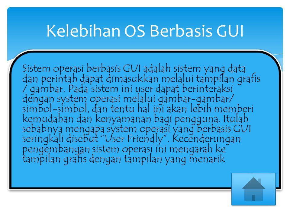 Sistem operasi berbasis GUI adalah sistem yang data dan perintah dapat dimasukkan melalui tampilan grafis / gambar. Pada sistem ini user dapat berinte