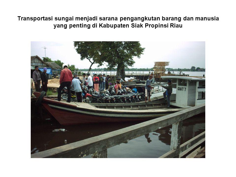 Transportasi sungai menjadi sarana pengangkutan barang dan manusia yang penting di Kabupaten Siak Propinsi Riau