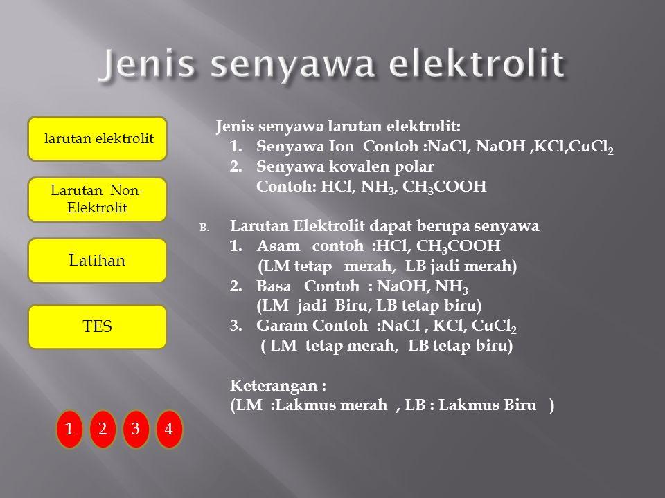 Larutan elektrolit terdiri dari 2 jenis: 1. Larutan elektrolit kuat 2.Larutan elektrolit lemah 1234 larutan elektrolit Larutan Non- Elektrolit larutan