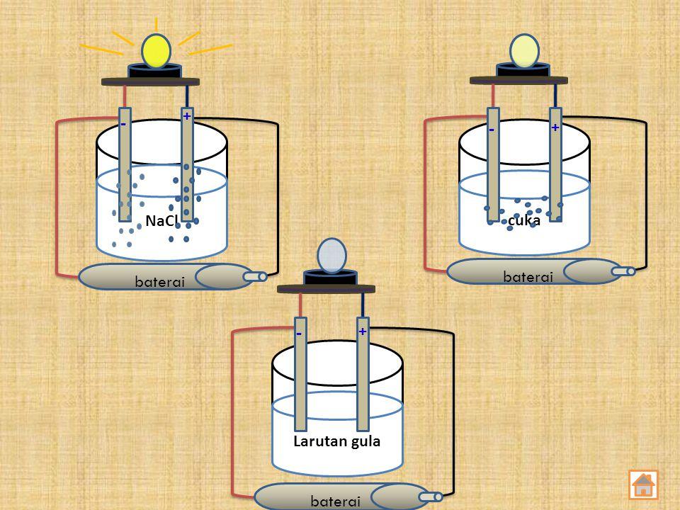 baterai NaCl Larutan gula cuka baterai + - + - + -