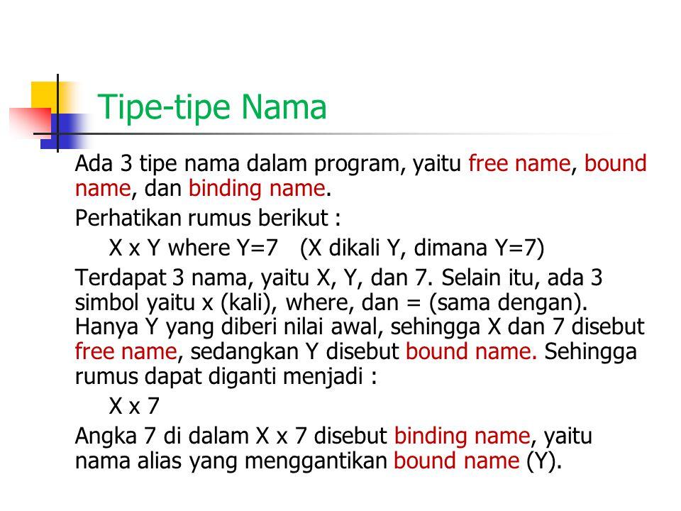 Tipe-tipe Nama Ada 3 tipe nama dalam program, yaitu free name, bound name, dan binding name. Perhatikan rumus berikut : X x Y where Y=7 (X dikali Y, d