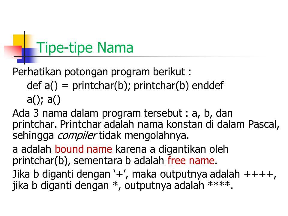 Tipe-tipe Nama Perhatikan potongan program berikut : def a() = printchar(b); printchar(b) enddef a(); a() Ada 3 nama dalam program tersebut : a, b, dan printchar.