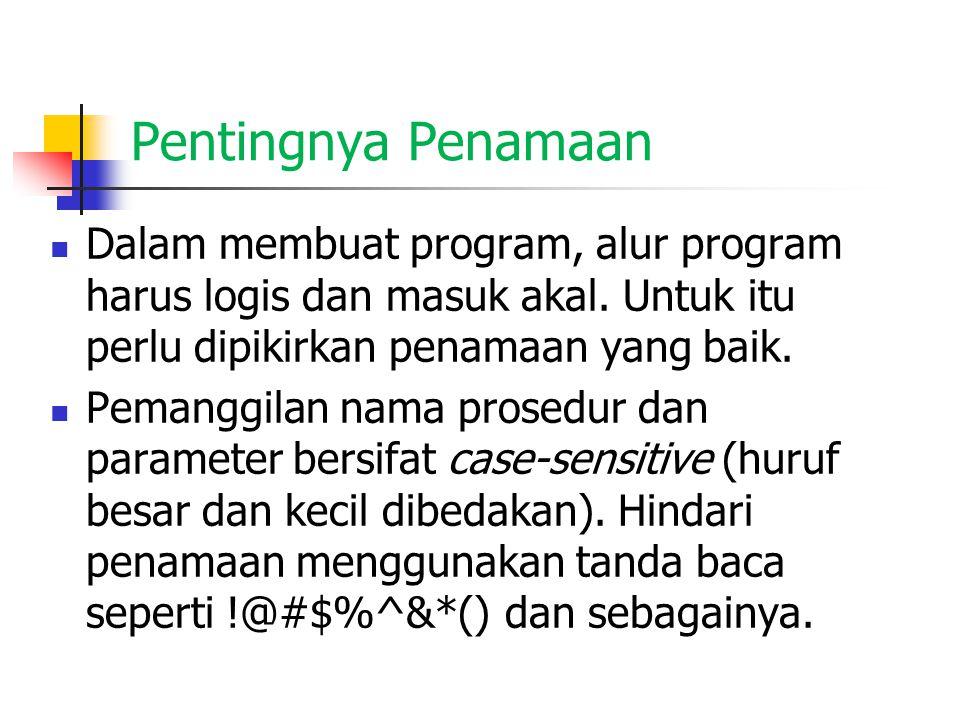 Pentingnya Penamaan Dalam membuat program, alur program harus logis dan masuk akal. Untuk itu perlu dipikirkan penamaan yang baik. Pemanggilan nama pr