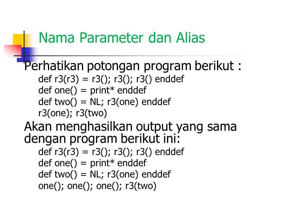 Definisi di dalam definisi Perhatikan potongan program berikut : def pat(c) = def r3(p)=p();p();p() enddef def x()=printchar(c) enddef NL;r3(x) enddef pat('*') Program di atas memiliki 3 free name yg kesemuanya adalah konstan yaitu printchar, NL, dan '*', dan memiliki bound name yaitu : pat, c, r3, x, dan p.