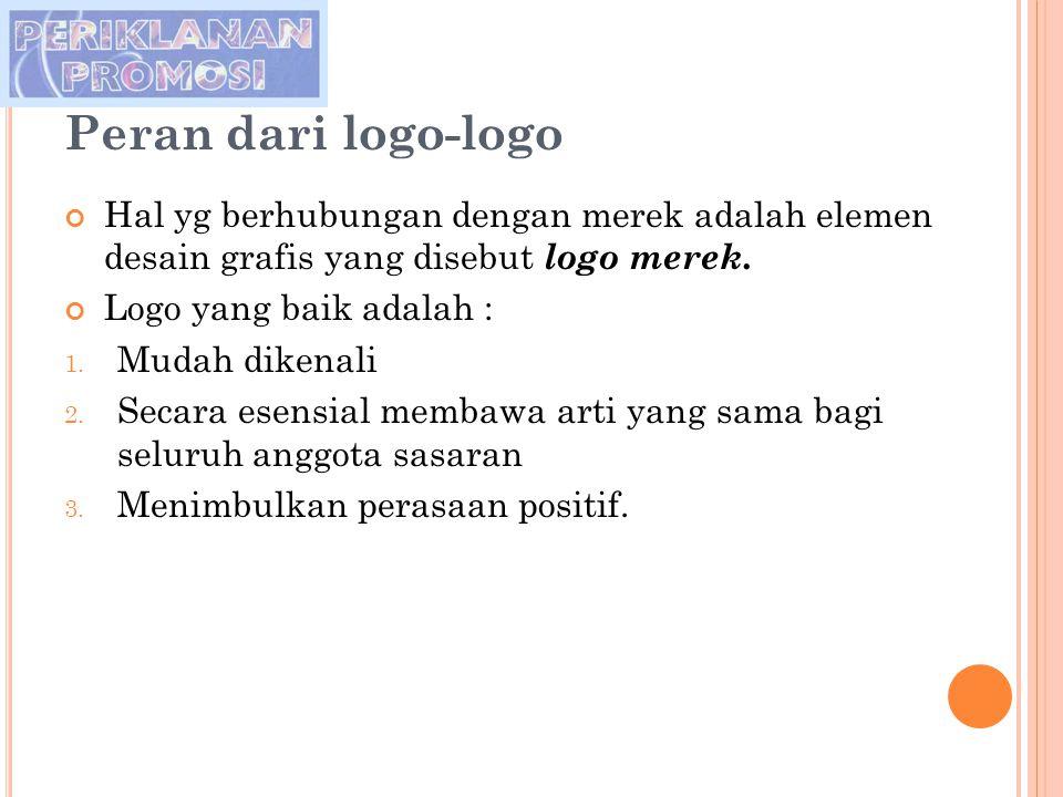 Peran dari logo-logo Hal yg berhubungan dengan merek adalah elemen desain grafis yang disebut logo merek. Logo yang baik adalah : 1. Mudah dikenali 2.