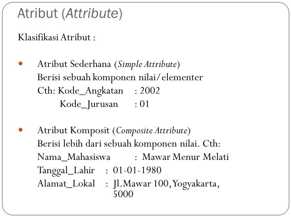 Atribut (Attribute) Klasifikasi Atribut : Atribut Sederhana (Simple Attribute) Berisi sebuah komponen nilai/elementer Cth: Kode_Angkatan: 2002 Kode_Jurusan: 01 Atribut Komposit (Composite Attribute) Berisi lebih dari sebuah komponen nilai.