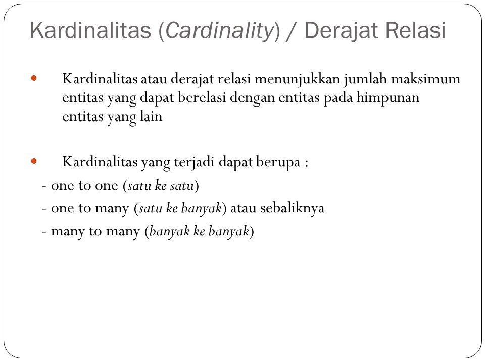 Kardinalitas (Cardinality) / Derajat Relasi Kardinalitas atau derajat relasi menunjukkan jumlah maksimum entitas yang dapat berelasi dengan entitas pada himpunan entitas yang lain Kardinalitas yang terjadi dapat berupa : - one to one (satu ke satu) - one to many (satu ke banyak) atau sebaliknya - many to many (banyak ke banyak)