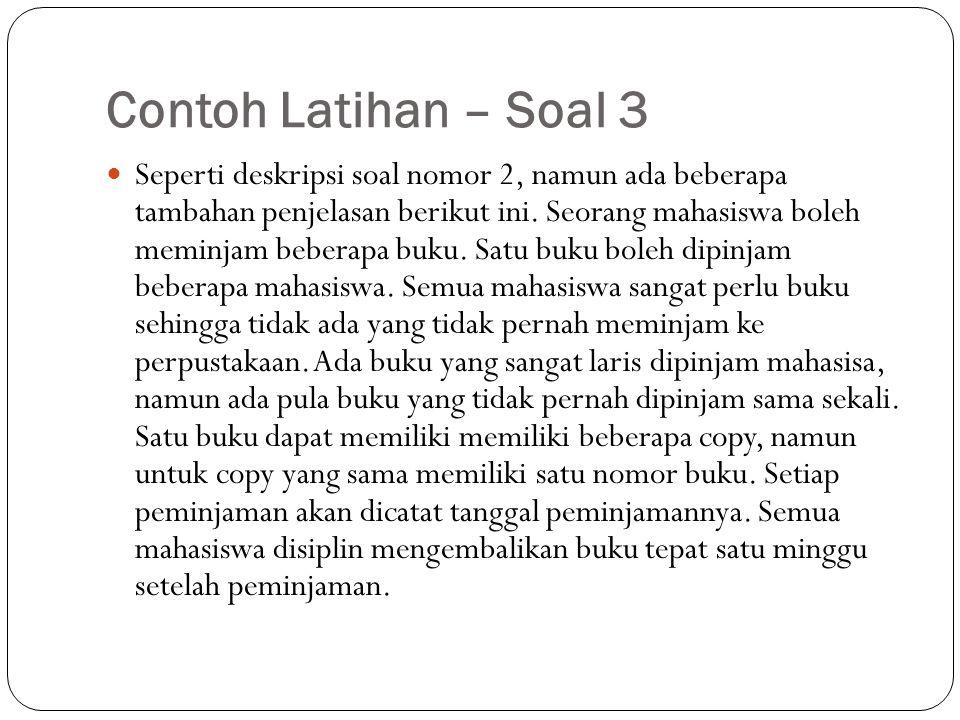 Contoh Latihan – Soal 3 Seperti deskripsi soal nomor 2, namun ada beberapa tambahan penjelasan berikut ini. Seorang mahasiswa boleh meminjam beberapa