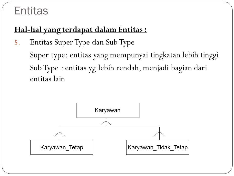 Entitas Hal-hal yang terdapat dalam Entitas : 5. Entitas Super Type dan Sub Type Super type: entitas yang mempunyai tingkatan lebih tinggi Sub Type :