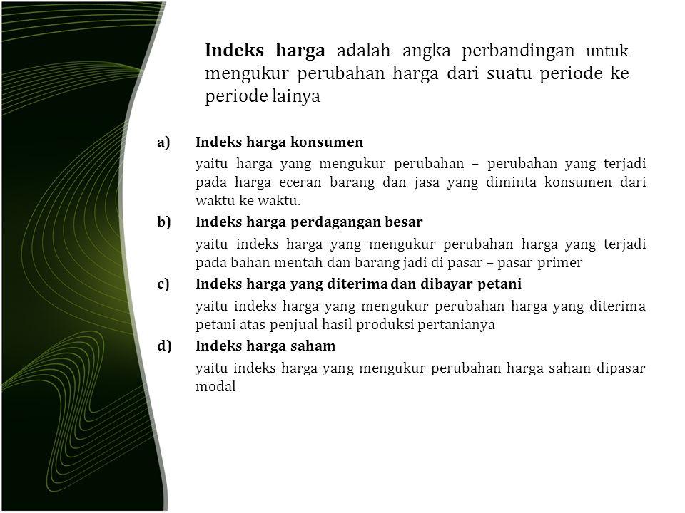 A.Metode tidak tertimbang (agregatif sederhana) Macam BarangHarga 2010(Po)Harga 2011(Pn) ARp.