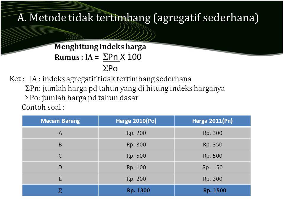 A. Metode tidak tertimbang (agregatif sederhana) Macam BarangHarga 2010(Po)Harga 2011(Pn) ARp. 200Rp. 300 B Rp. 350 CRp. 500 DRp. 100Rp. 50 ERp. 200Rp
