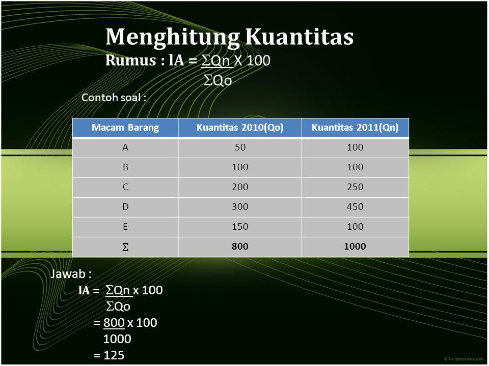 Menghitung Kuantitas Rumus : lA =  Qn X 100  Qo Macam BarangKuantitas 2010(Qo)Kuantitas 2011(Qn) A50100 B C200250 D300450 E150100 ∑ 8001000 Jawab :