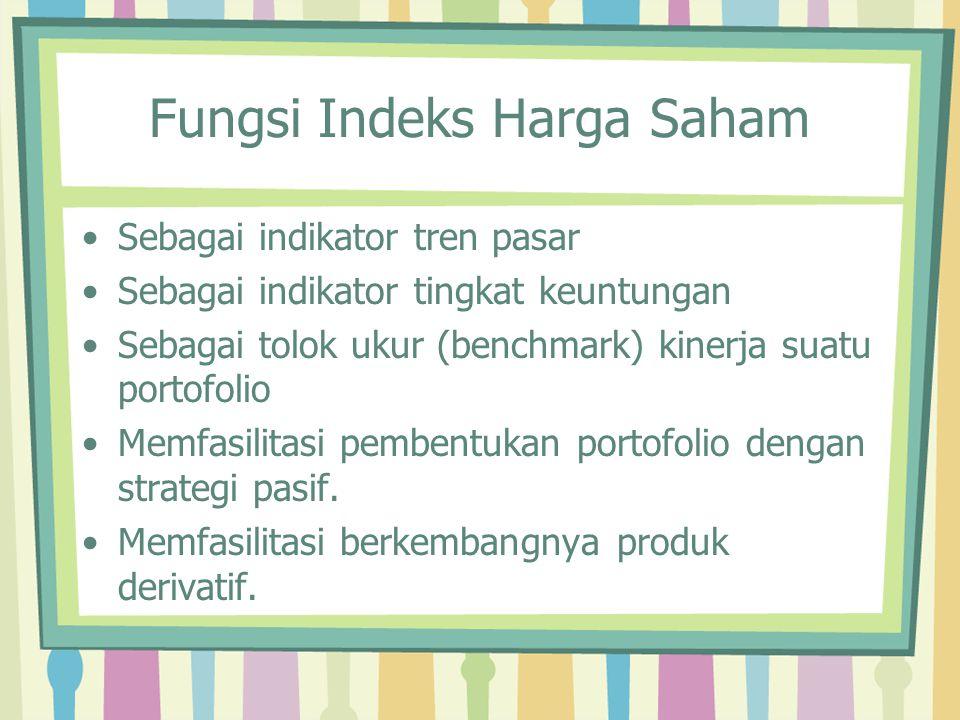 Fungsi Indeks Harga Saham Sebagai indikator tren pasar Sebagai indikator tingkat keuntungan Sebagai tolok ukur (benchmark) kinerja suatu portofolio Me