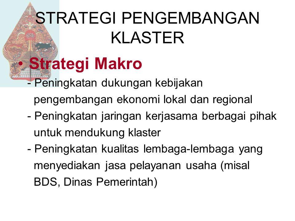 STRATEGI PENGEMBANGAN KLASTER Strategi Makro - Peningkatan dukungan kebijakan pengembangan ekonomi lokal dan regional - Peningkatan jaringan kerjasama berbagai pihak untuk mendukung klaster - Peningkatan kualitas lembaga-lembaga yang menyediakan jasa pelayanan usaha (misal BDS, Dinas Pemerintah)